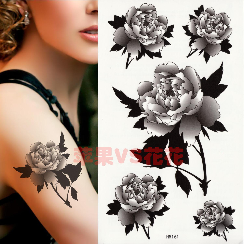黑白玫瑰花纹身贴纸 防水 女款胸 臂纹身 hm161