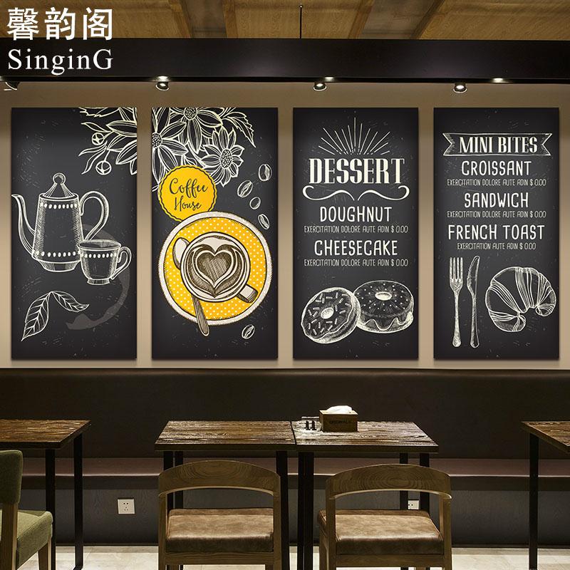 热卖咖啡厅装饰画黑板画酒吧工业风挂画餐厅客厅无框画复古壁画定制图片