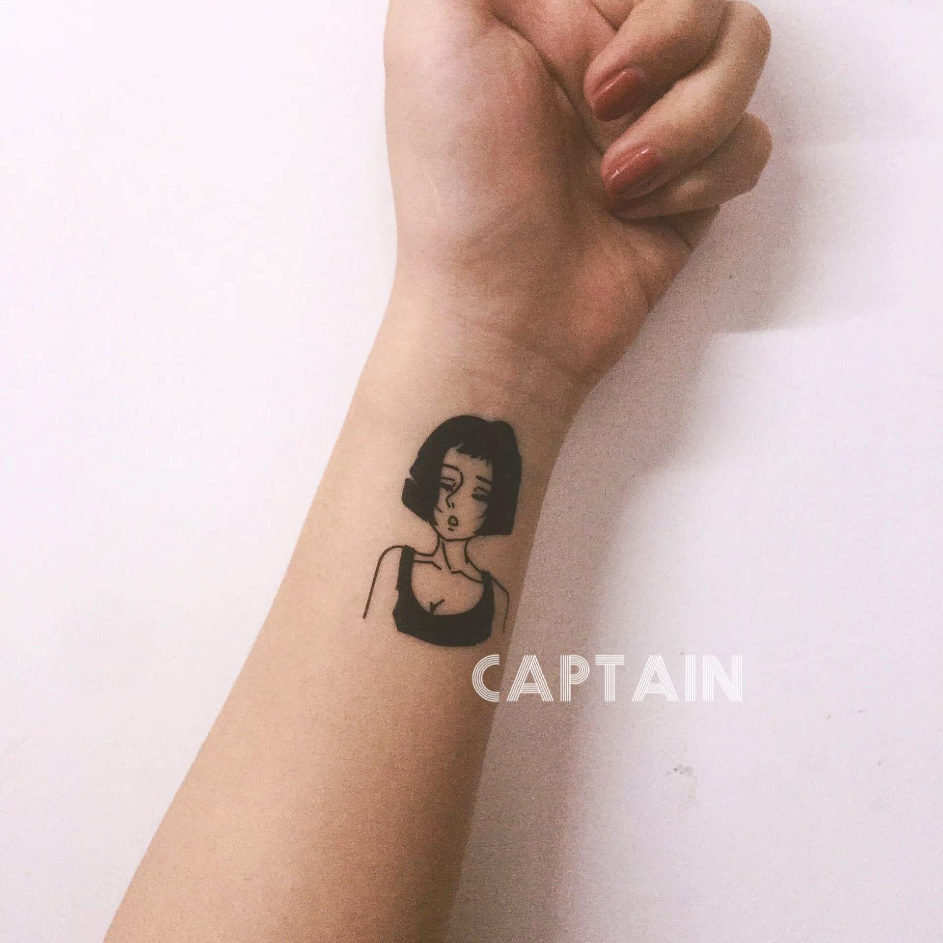 热卖船长家 暗黑系少女黑白线条简约人物纹身贴套装 一套8张满35包邮图片
