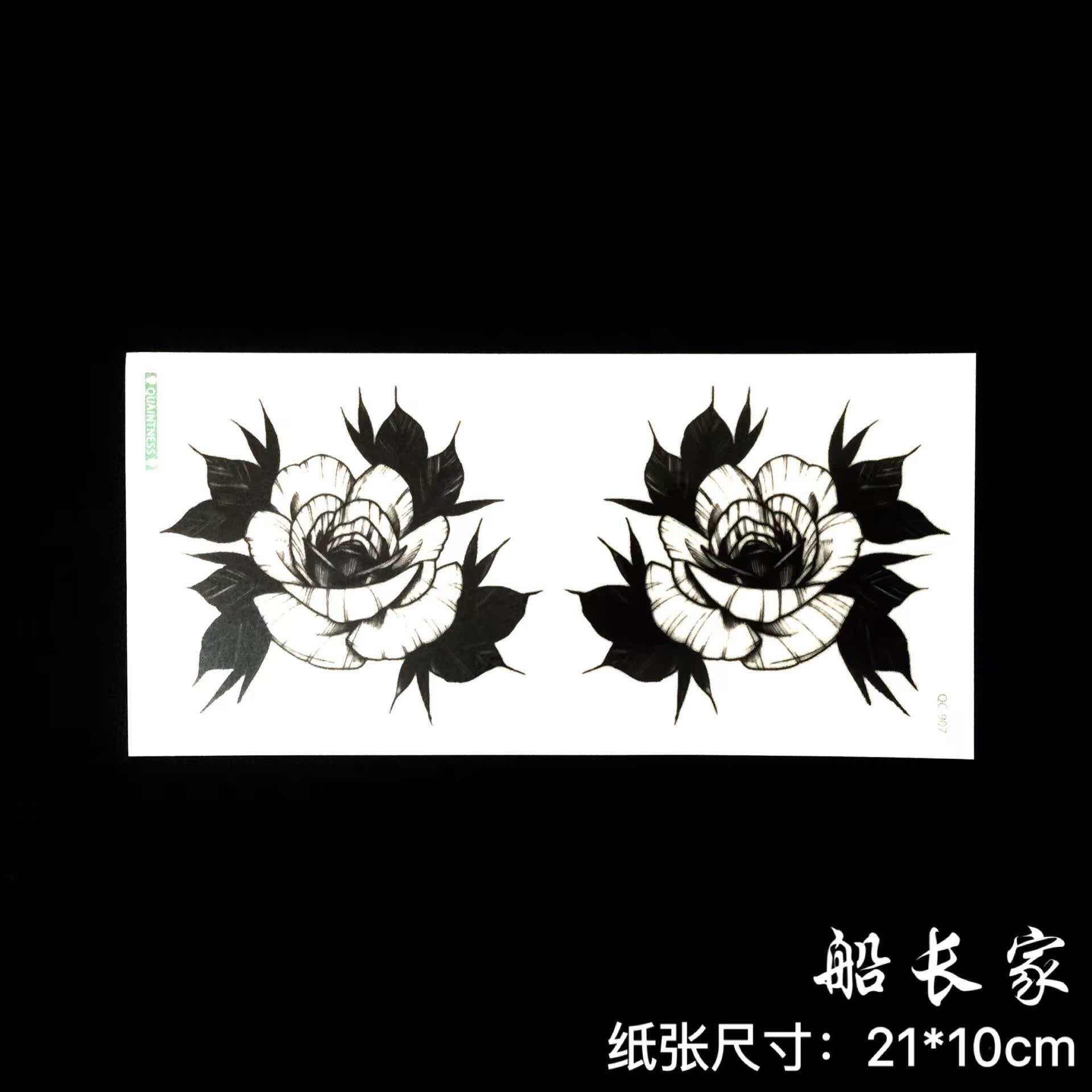 热卖防水纹身贴女款 影楼写真拍照 遮疤痕 黑白玫瑰花 手臂腿腰胸性感