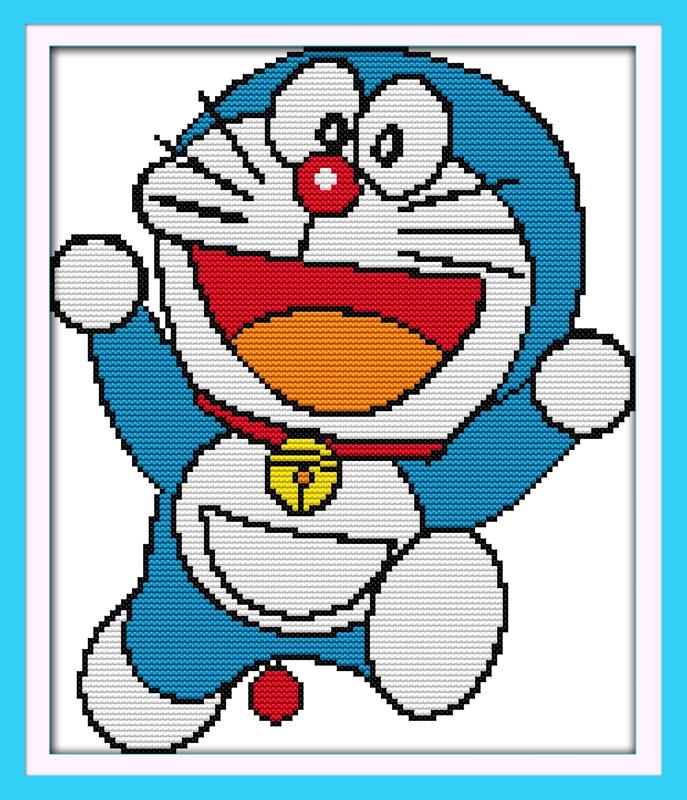 精准印花十字绣快乐叮当猫卡通动漫系列简单小幅初学者十字绣新款图片