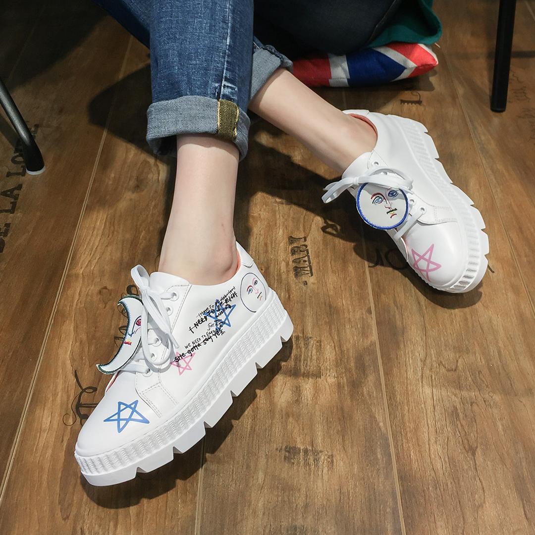 热卖2件8折2018夏季新款女鞋格利特休闲鞋松糕厚底单鞋百搭半拖鞋欧