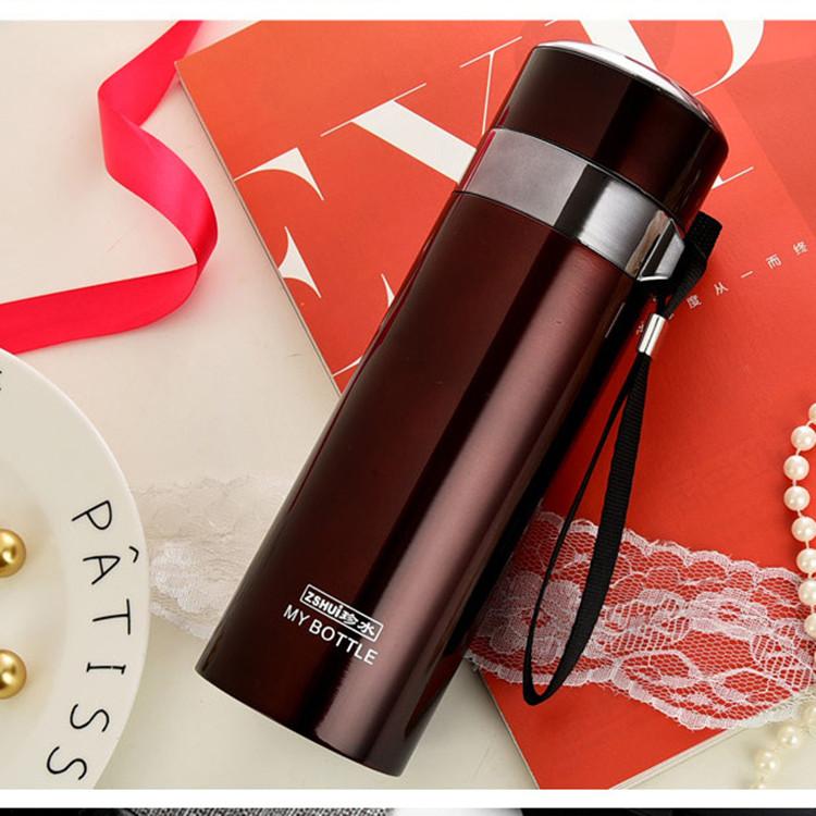 热卖珍水大容量保温杯男女便携水杯不锈钢杯子真空水壶刻字茶杯1000ml