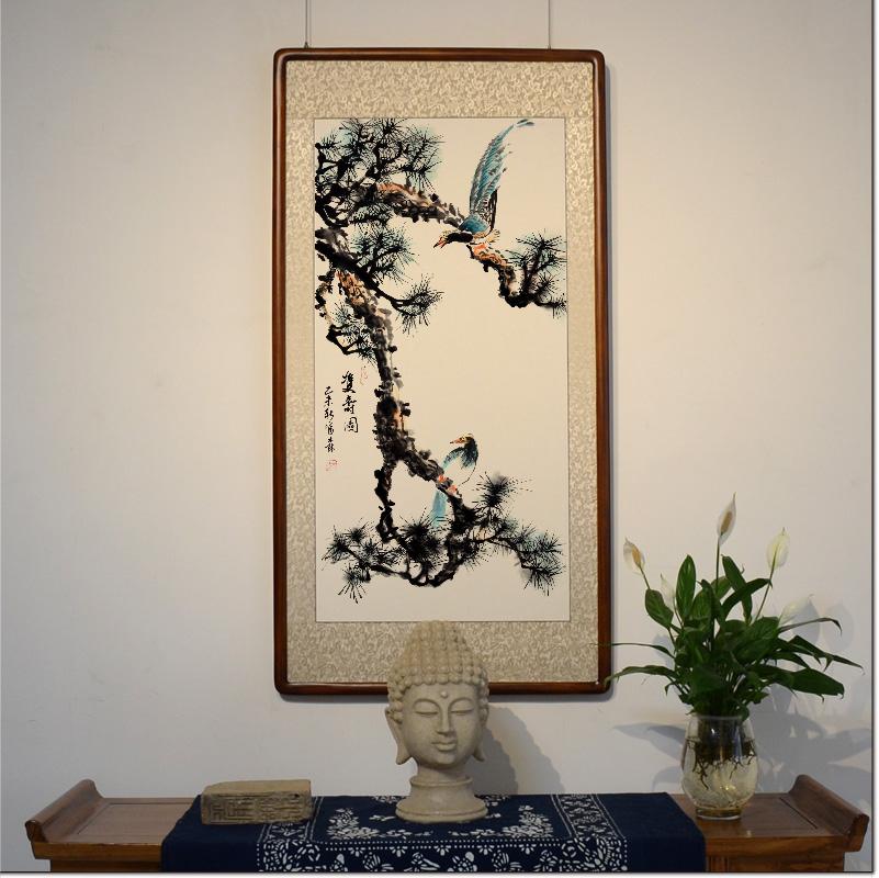 [空谷堂]手绘真迹新中式客厅装饰画国画花鸟画卧室挂画李富森竖幅图片
