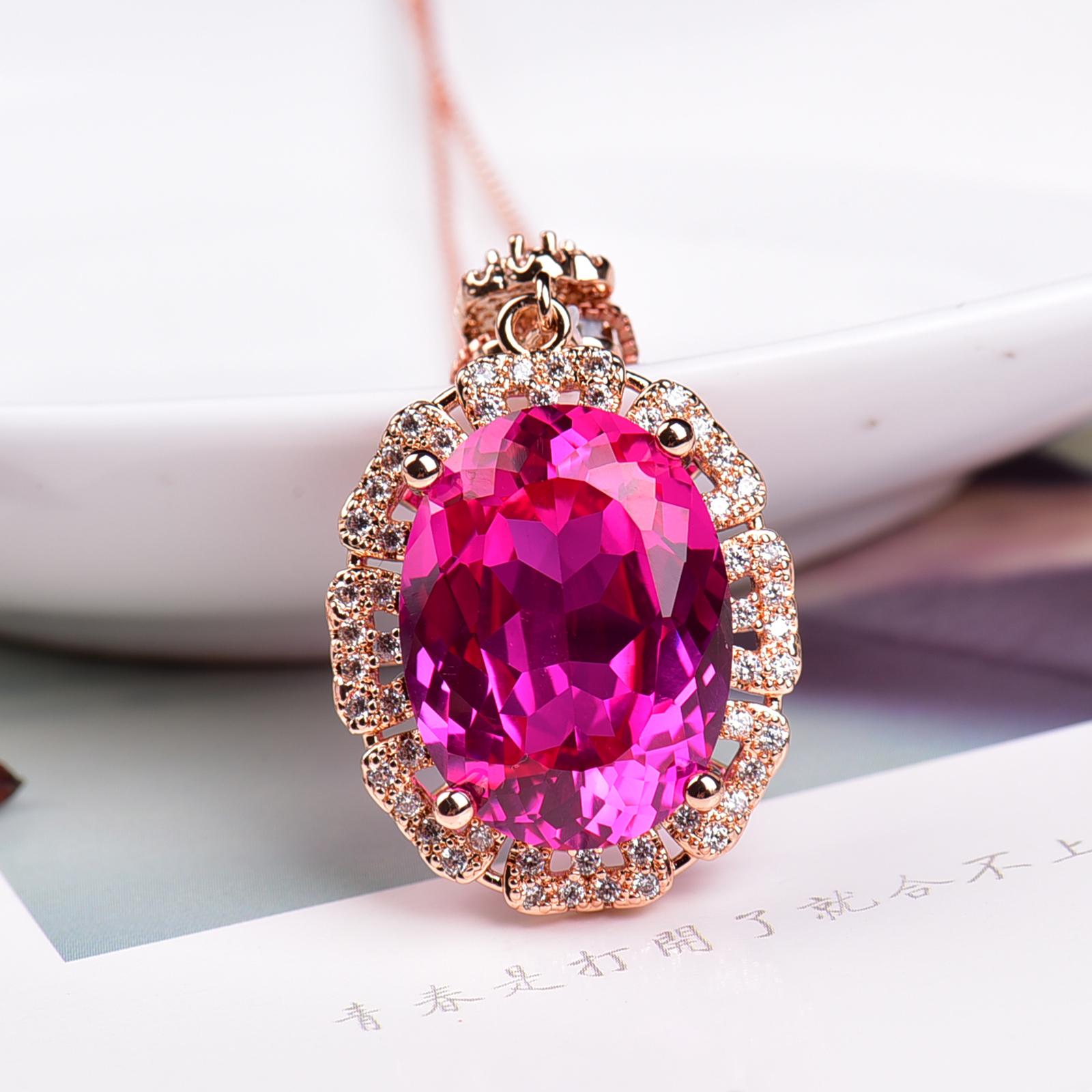 粉托帕石吊坠可做毛衣链 吊坠 彩宝简单甜美大气925银电镀玫瑰金