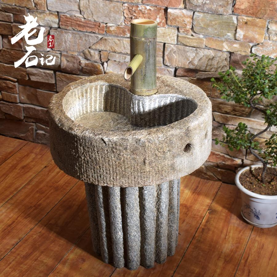 天然原石拖水池拖把桶洗水池别墅阳台庭院石拖把池户外石头墩布池图片