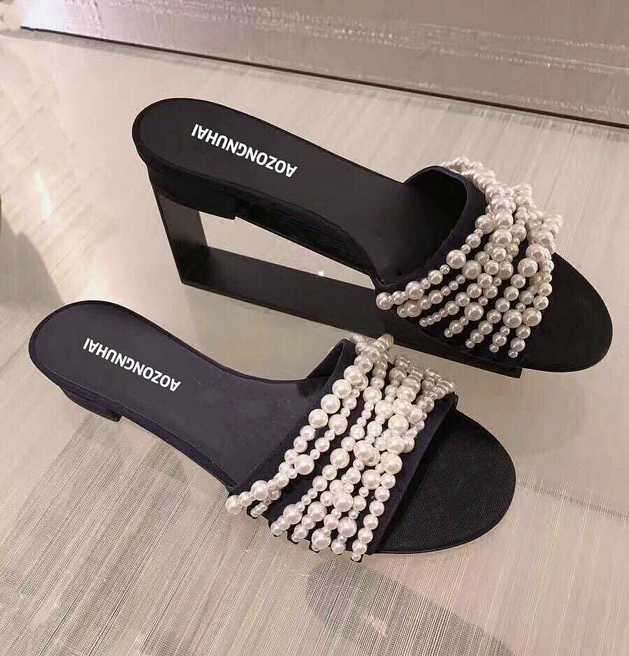ins2018韩版百搭平跟水钻珍珠时尚拖鞋女夏外穿一字拖女沙滩凉拖