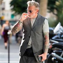 新款欧美潮男修身西装无袖马甲韩版青年个性休闲发型师背心外套