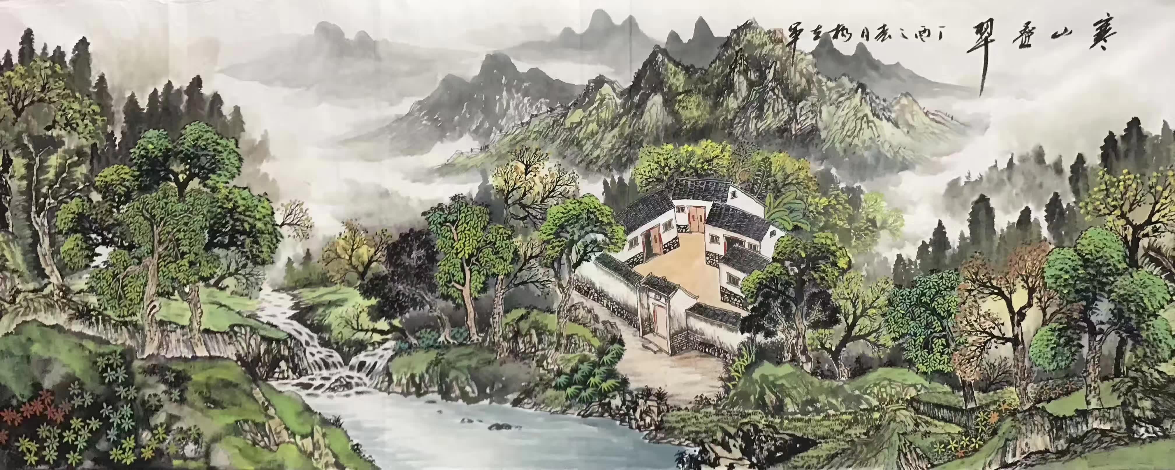 新款小六尺手绘山水画国画客厅装饰画书房挂画画芯未裱风水画靠山