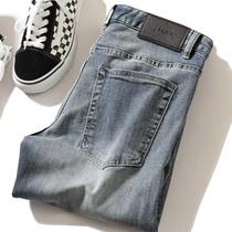 19春夏帅气男装长裤 舒适弹力棉牛仔面料 百搭男士修身直筒牛仔裤