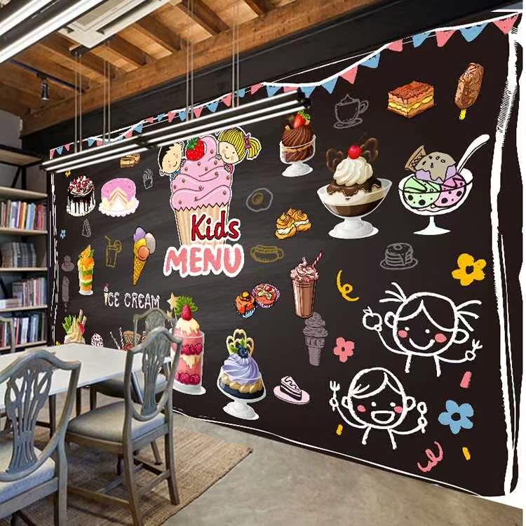 甜品奶茶店背景墙壁纸面包蛋糕店3d立体墙纸烘培房小吃店装饰壁画图片