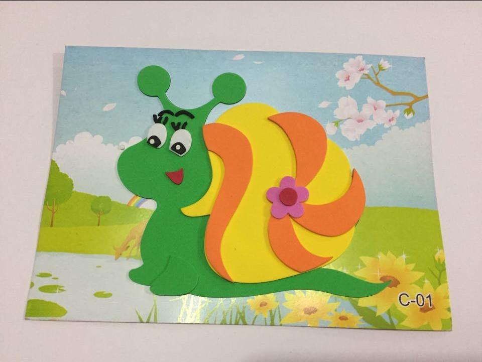 c简单幼儿童入门eva立体手工贴画拼图3d贴贴纸制作材料包:小蜗牛