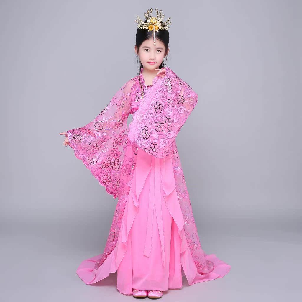 古装贵妃儿童汉服 女童古代小儿童拖尾新款 唐朝公主服装舞蹈演出