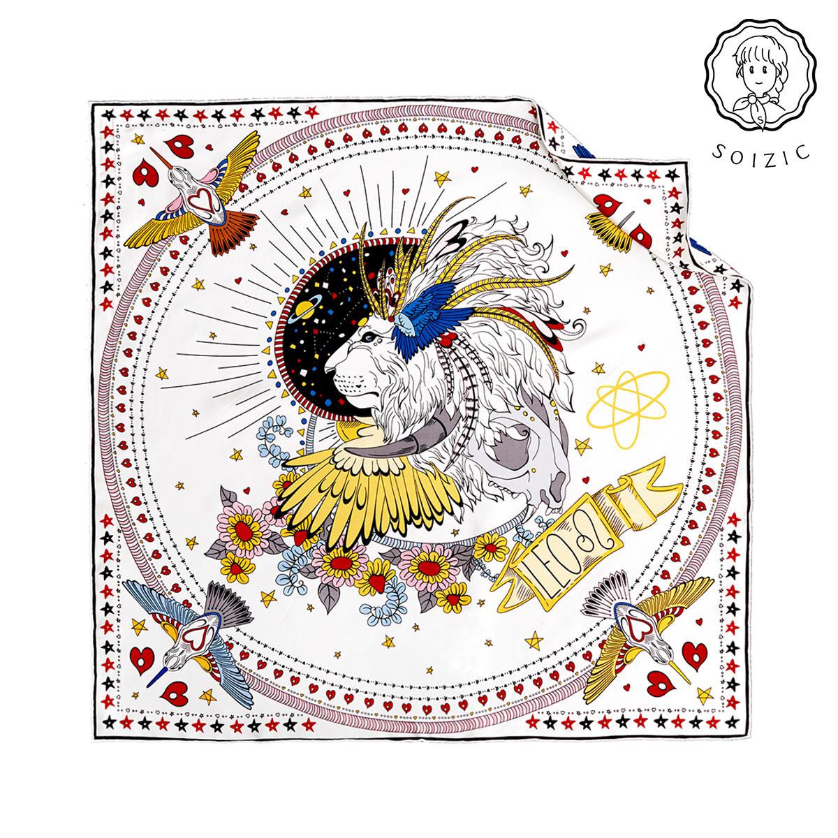 狮子座soizic少女可小方巾原创设计星座系列真丝丝巾纯色发带围巾图片