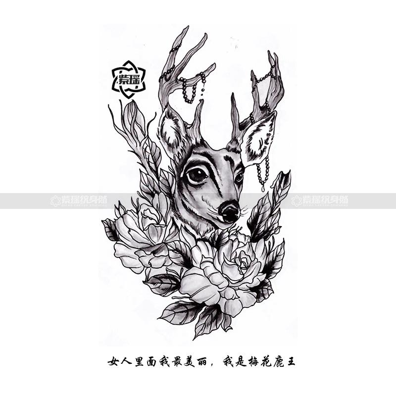 纹身贴小鹿角之森梅花鹿麋鹿黑白玫瑰花项链防水女持久图案性感