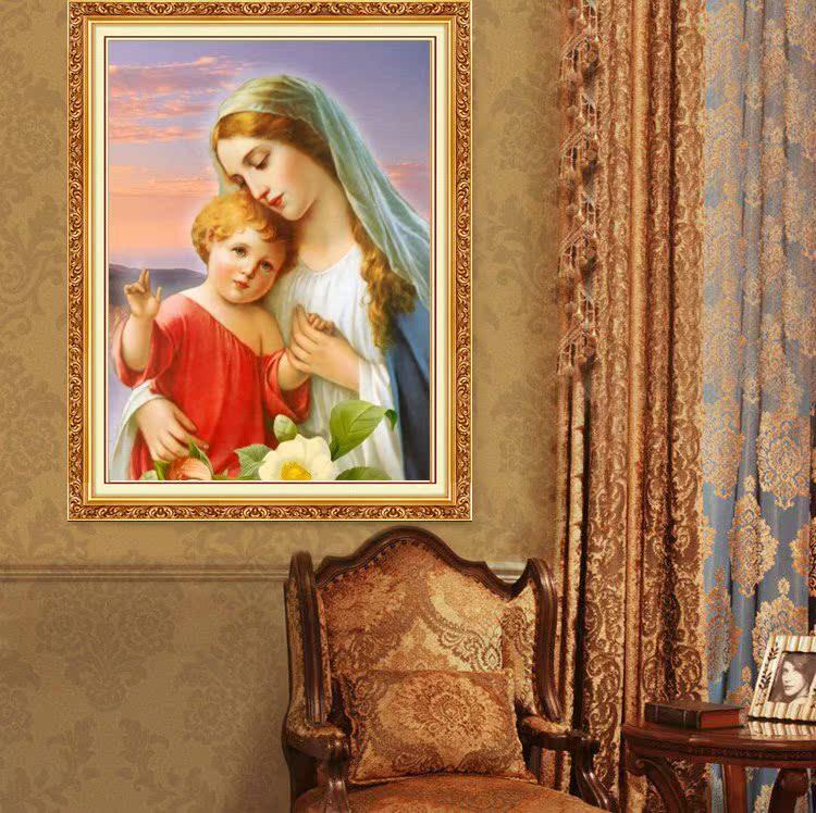 基督教十字绣5d钻石画满钻圣母抱耶稣圣母玛利亚圣象天主教新款