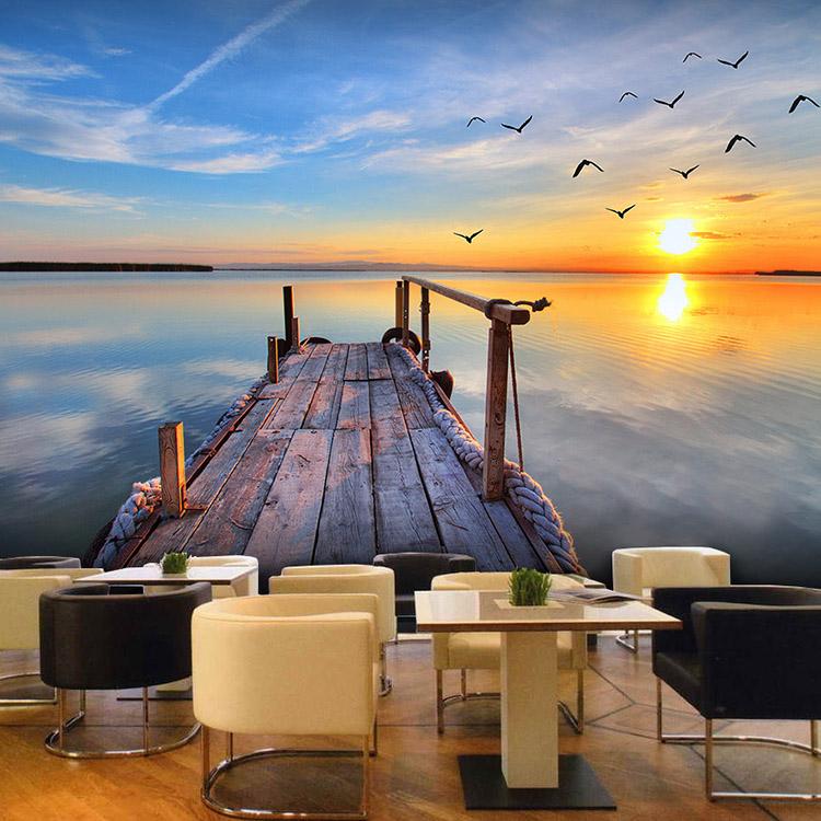 西餐厅甜品店壁纸3d唯美风景墙纸大自然空间延伸壁画瑜伽馆装饰图片