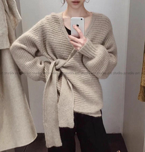 北欧cos风 ~日式裹式v领系带针织衫 羊毛混纺毛衣女宽松上衣开衫