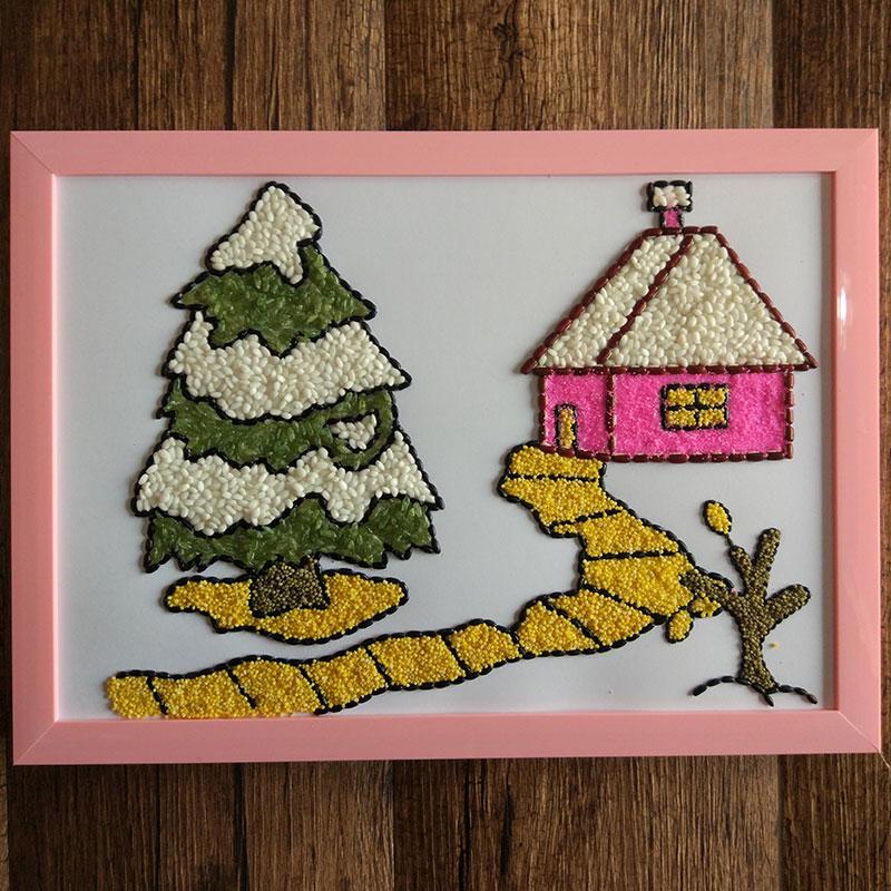 种子贴画_热卖儿童手工益智diy创意材料包豆画种子贴画趣味亲子作业贴画 田野推