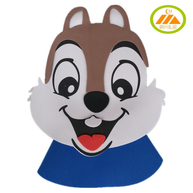 元旦节松鼠头饰动物头套幼儿园学校表演道具动物小松鼠帽子eva图片