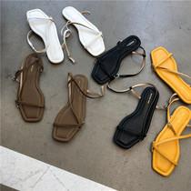 MUSI女鞋韩国大东门款个性细带罗马一字搭扣软软软好穿凉鞋女士鞋