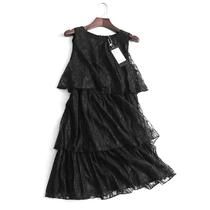 R615 品质女装 夏季纯色显瘦圆领系带无袖蕾丝裙层叠蛋糕裙连衣裙