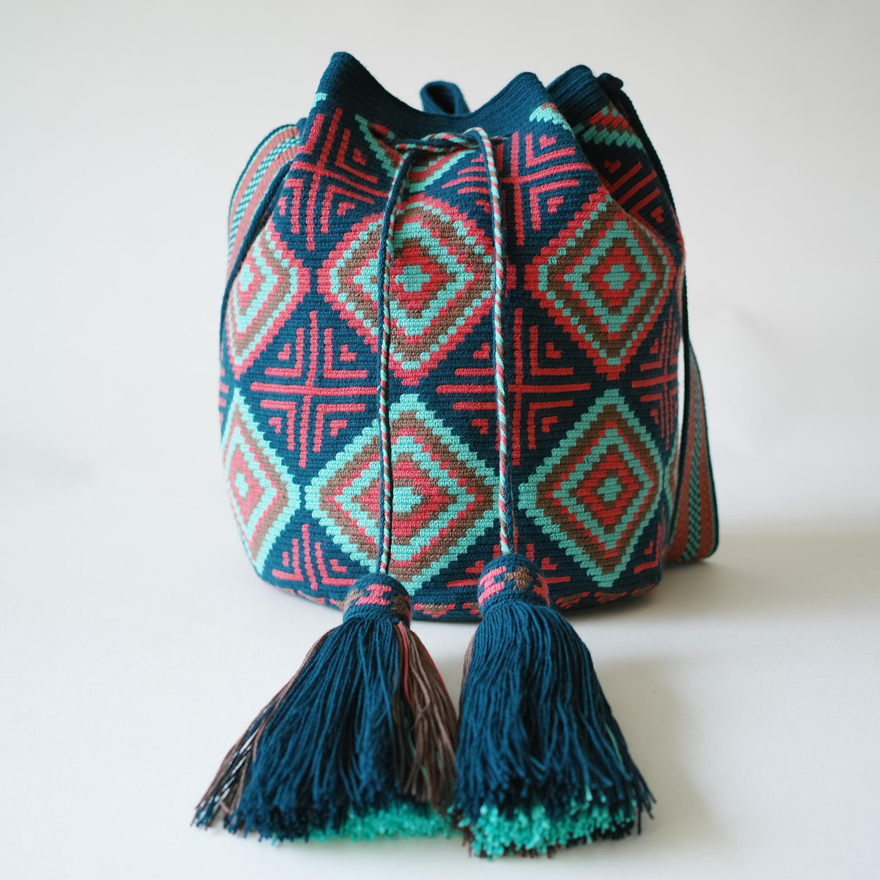 热卖哥伦比亚wayuu部落手工编织瓦尤包水桶包单股大号灰菱形十字花