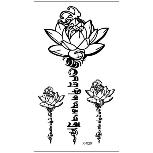 热卖om瑜伽纹身贴yoga图形图案黑白莲花荷花七脉轮防汗防水持久男女