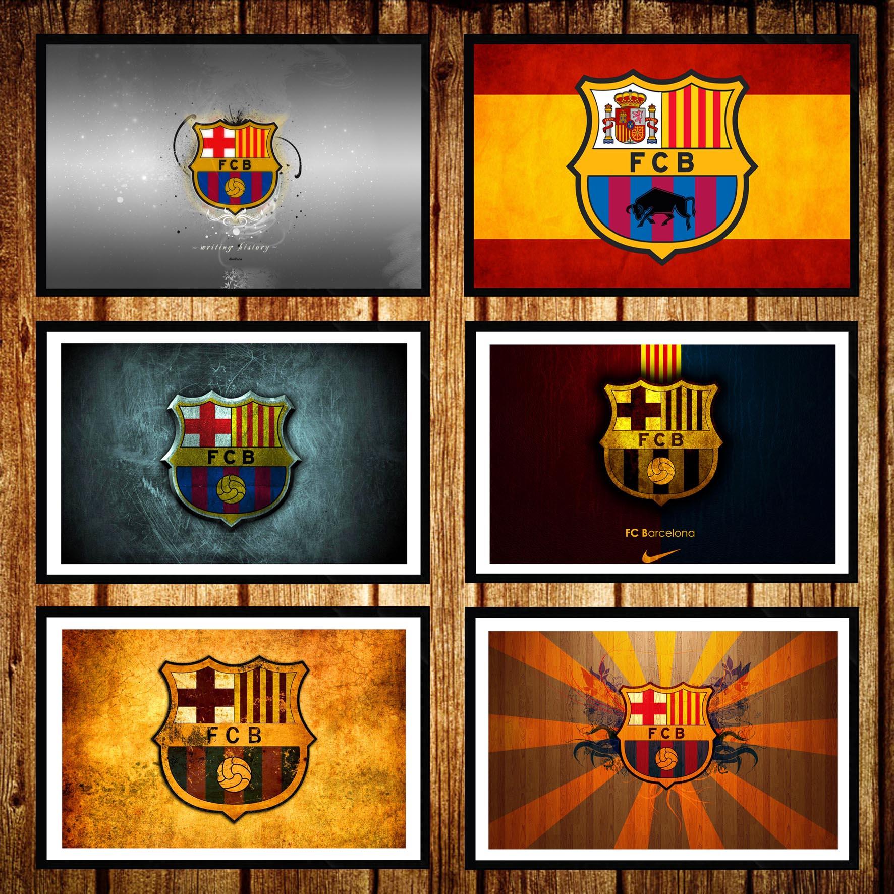 巴萨装饰画巴塞罗那有框画足球主题餐厅队徽队标壁挂卧室照片墙画