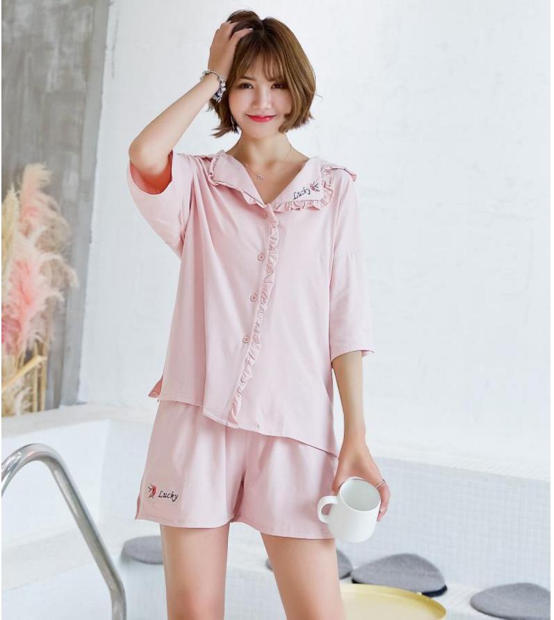 日系甜美刺绣睡衣套装女夏韩版宽松短袖短裤开衫套装pink家居服