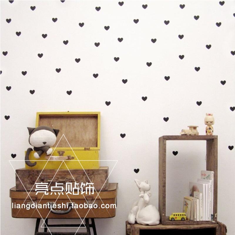 热卖sunnykids儿童房定制ins北欧风爱心形墙贴贴纸卧室客厅装饰可移除图片