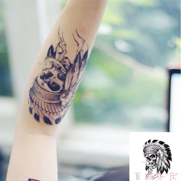 热卖贾斯丁比伯同款纹身贴男女防水持久 皇冠小丑印第安人文字一次性图片