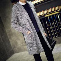 秋冬毛衣男开衫中长款针织衫外套青年连帽毛线衣韩版加厚披风大衣