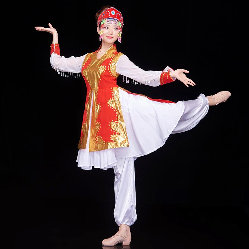 蒙古舞蹈演出服女新款蒙族民族风衣服现代生活广场舞