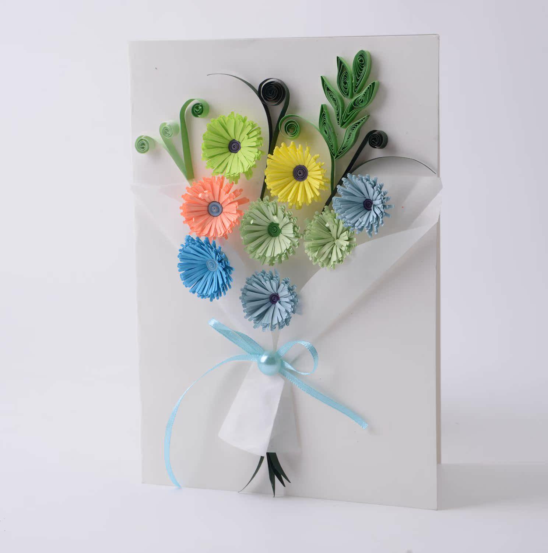 妇女节送老师diy康乃馨衍纸贺卡卡片幼儿园礼物儿童图片