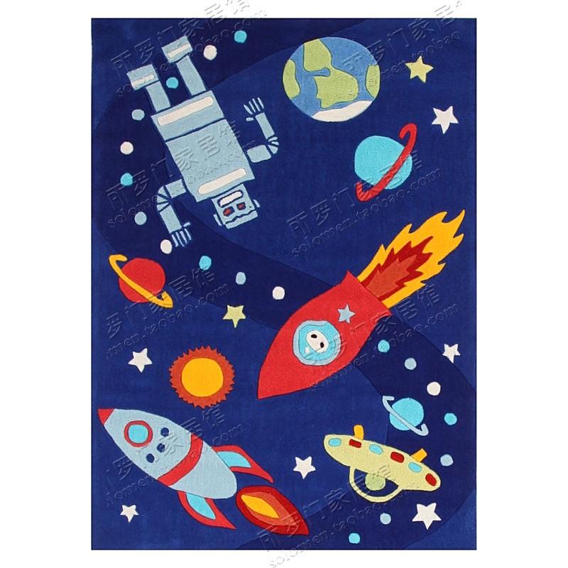 热卖卡通太空宇宙火箭地毯男孩儿童房床边榻榻米幼儿园早教垫定制加厚图片
