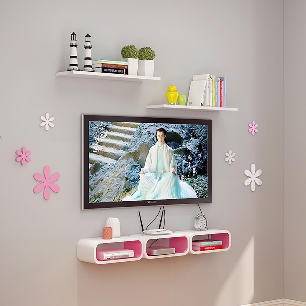 热卖电视柜机顶盒架子置物架壁挂盒子客厅墙壁背景墙上卧室隔板装饰架图片