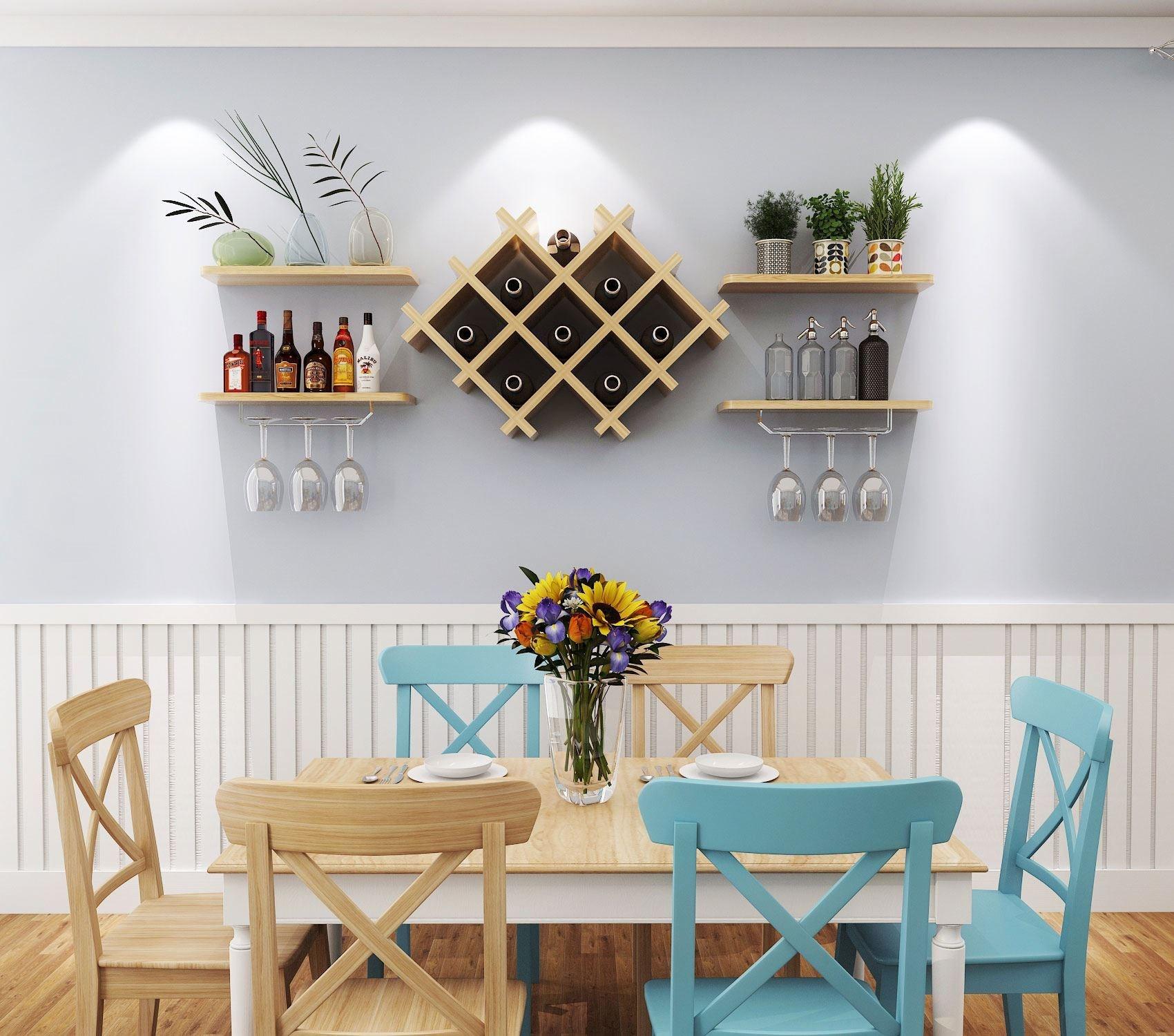 墙上酒柜创意餐厅壁挂红酒架现代简约悬挂式酒格子装饰置物架吊柜图片