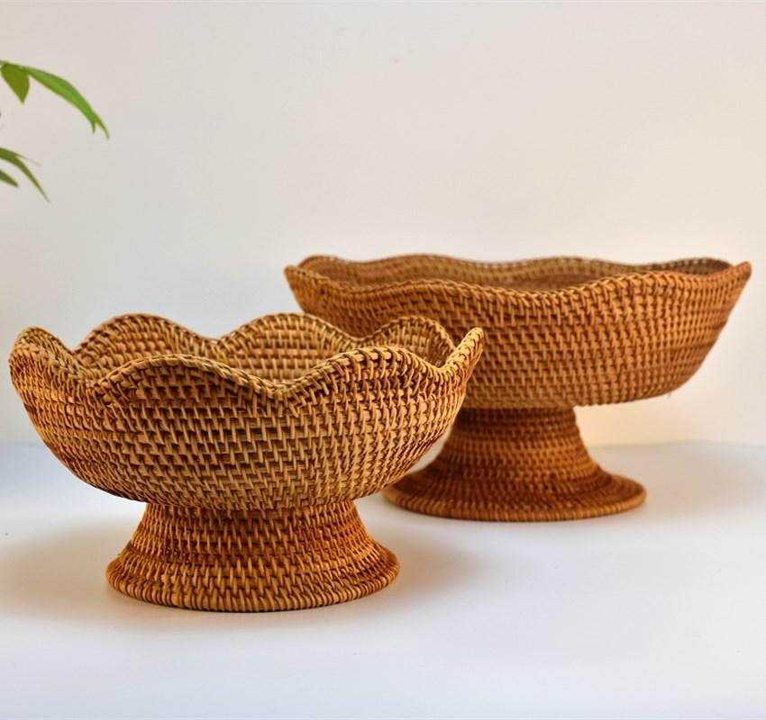 热卖越南藤编茶点盒手工水果篮干果盘零食篮家用竹编创意桌面收纳篮图片