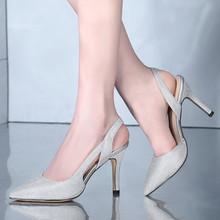 MZ CENTURY名足时代夏季新尖头闪闪钻凉鞋性感细跟宴会鞋公主女鞋
