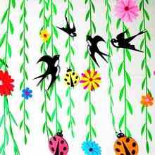 热卖幼儿园吊饰柳叶装饰柳条幼儿园空中创意教室主题墙环境布置春天图片