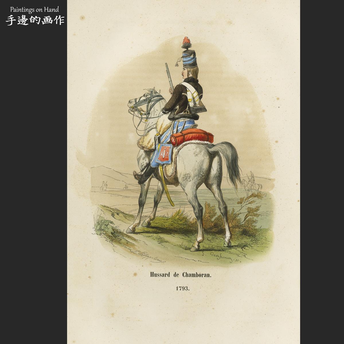 热卖法国1847原版手工上色木刻版画/军队军团史/hussard de chamboran