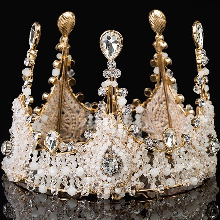 时尚新娘皇冠欧式女王复古手工水晶大圆冠结婚配饰婚纱头饰品