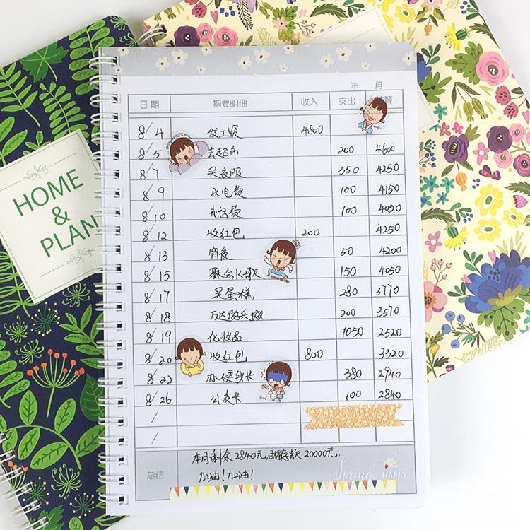热卖可爱懒人家庭记账本小清新韩国学生理财笔记本手账收支薄花销册图片