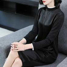 连衣裙女2018秋装新款长袖小立领拼接A字裙名媛气质宽松显瘦裙子