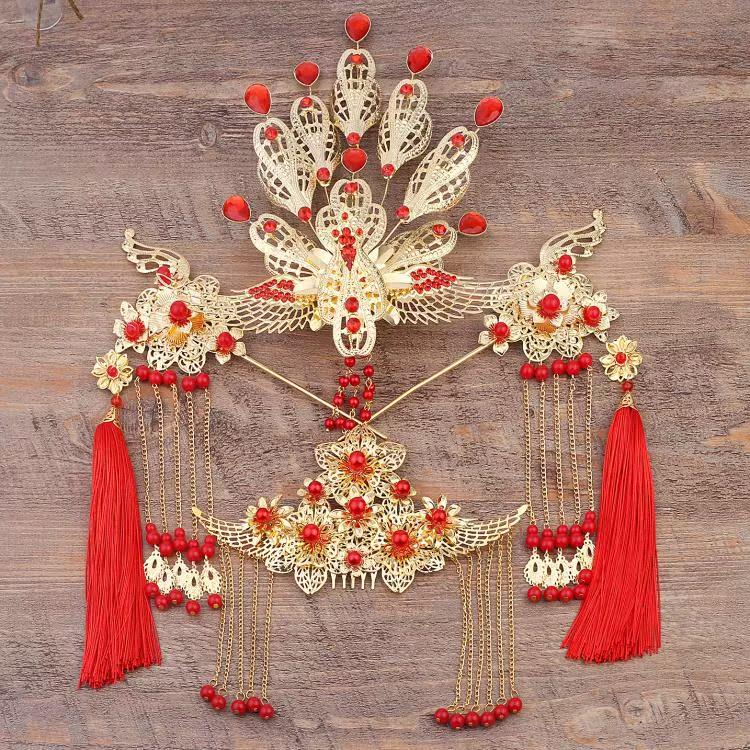 摄影发饰古代公主皇后套装凤冠饰品古装假发配件舞台影楼贵妃头饰