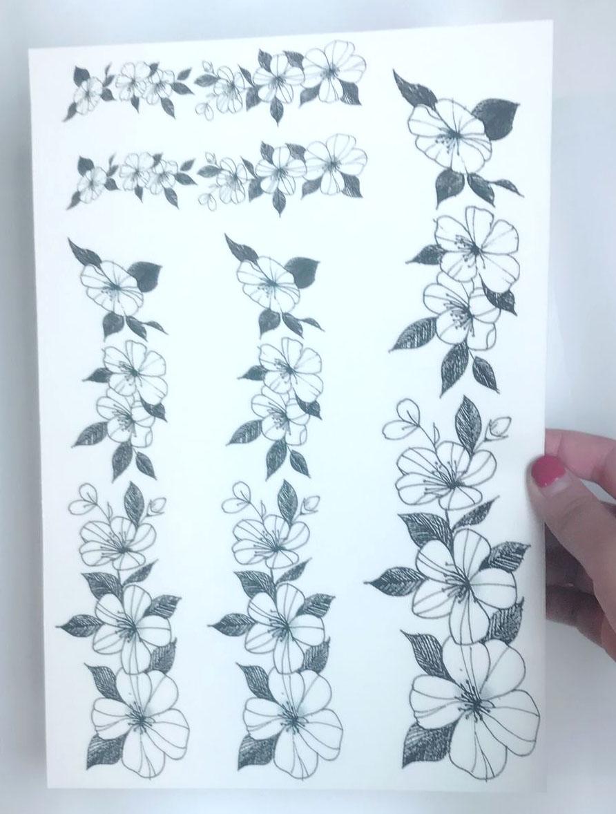 热卖韩国少女手绘女生大腿缠绕花环防水仿真纹身贴小清新持久性感贴纸图片
