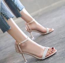 凉鞋女仙女风细跟小清新夏款伴娘简单女式凉鞋子显瘦单跟小跟夏季