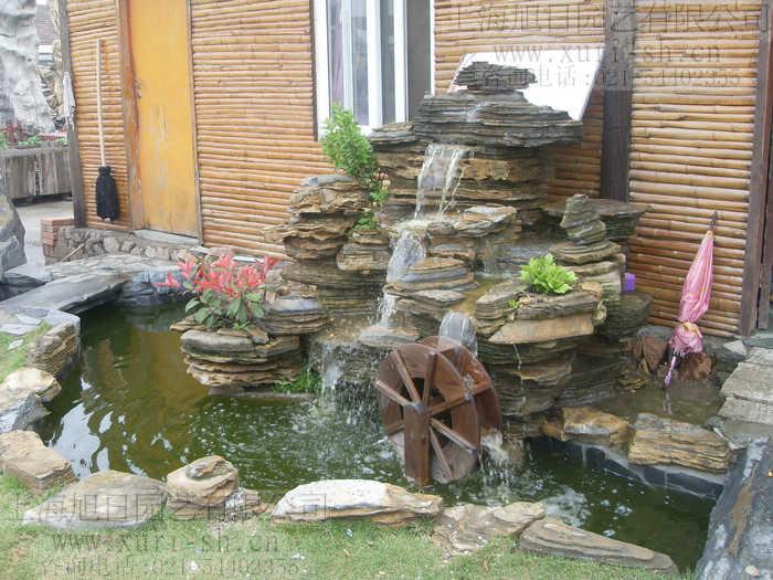 千层新款小叶恋石草木车轮插标石户外 庭院景观鱼池假山 小型水景图片