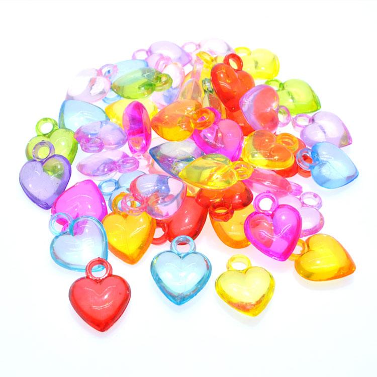 透明亚克力吊孔桃心儿童男女孩diy串珠宝石玩具小朋友图片